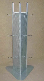 Triangular stand made of perforated sheet