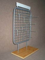 Stand with grille with hooks and logo holder